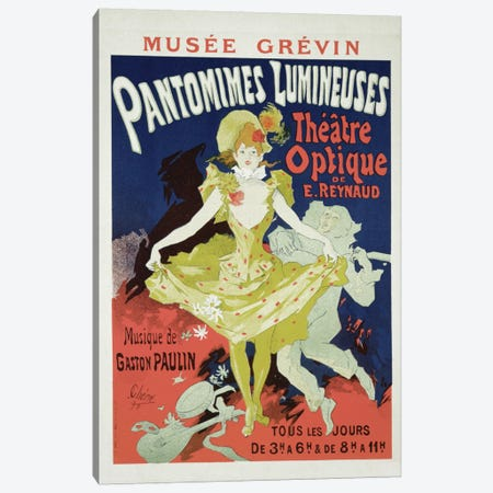 Reproduction of a Poster Advertising 'Pantomimes Lumineuses' at the Musee Grevin, 1892  Canvas Print #BMN1673} by Jules Cheret Art Print