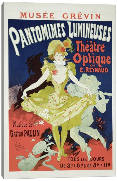 Pantomimes Lumineuses At Musee Grevin Advertisement, 1892  Canvas Art Print