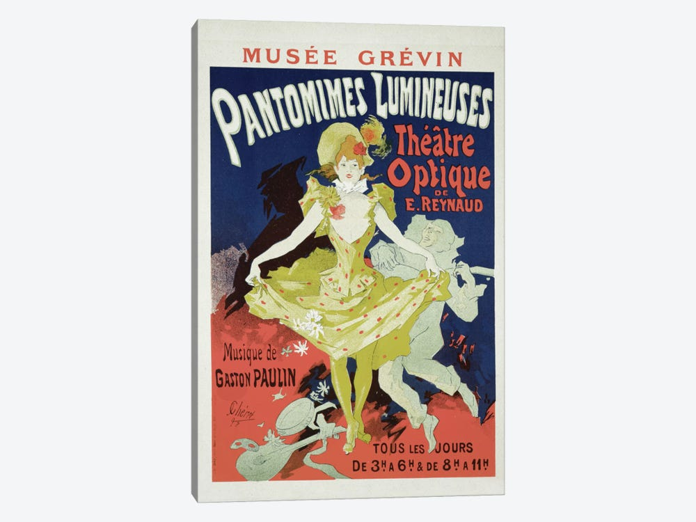 Reproduction of a Poster Advertising 'Pantomimes Lumineuses' at the Musee Grevin, 1892 1-piece Canvas Art Print