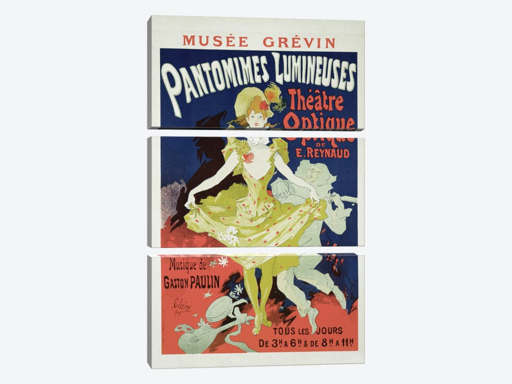 Reproduction of a Poster Advertising 'Pantomimes Lumineuses' at the Musee Grevin, 1892 by Jules Cheret 3-piece Canvas Print