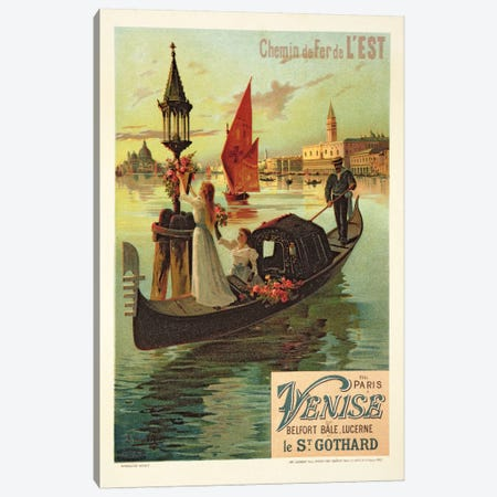 Reproduction of a Poster Advertising the Eastern Railway from Paris to Venice  Canvas Print #BMN1674} by Hugo d' Alesi Canvas Art