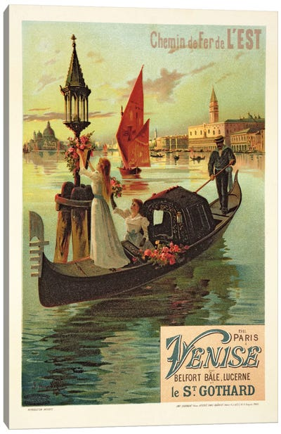 Reproduction of a Poster Advertising the Eastern Railway from Paris to Venice Canvas Art Print