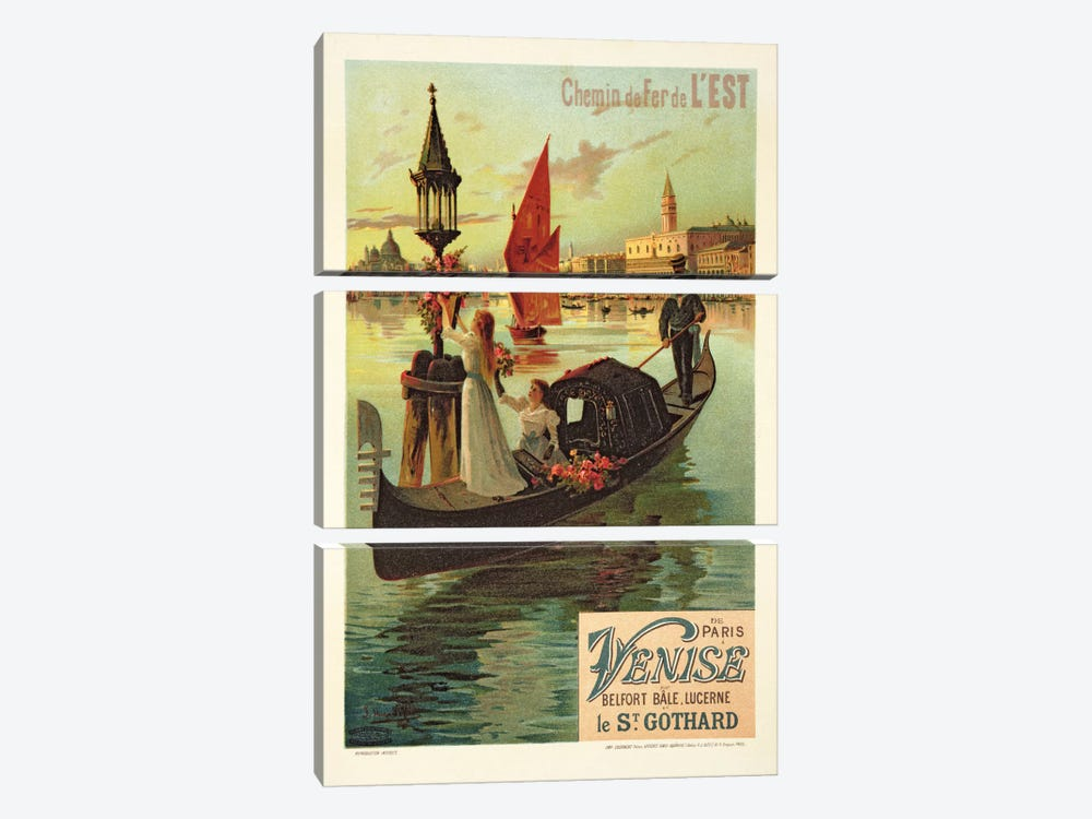 Reproduction of a Poster Advertising the Eastern Railway from Paris to Venice by Hugo d' Alesi 3-piece Canvas Wall Art