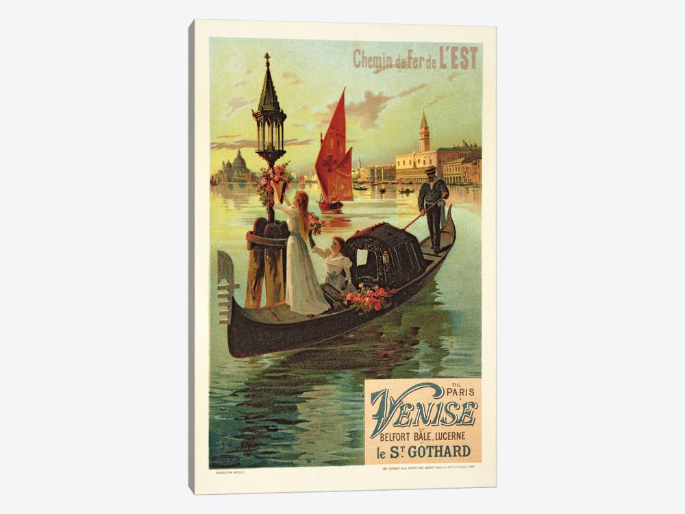Reproduction of a Poster Advertising the Eastern Railway from Paris to Venice  by Hugo d' Alesi 1-piece Canvas Artwork