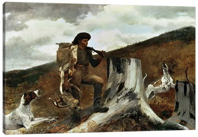The Hunter and his Dogs, 1891  Canvas Art Print