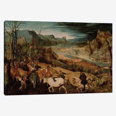 The Return of the Herd (Autumn) Canvas Print #BMN167} by Pieter Brueghel the Elder Canvas Wall Art