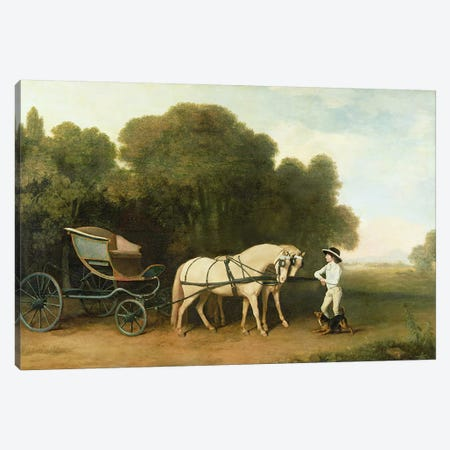 A Phaeton with a Pair of Cream Ponies in the Charge of a Stable-Lad, c.1780-5  Canvas Print #BMN1681} by George Stubbs Canvas Artwork