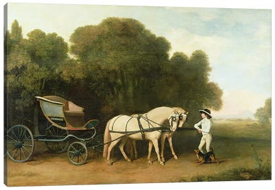 A Phaeton with a Pair of Cream Ponies in the Charge of a Stable-Lad, c.1780-5  Canvas Print #BMN1681