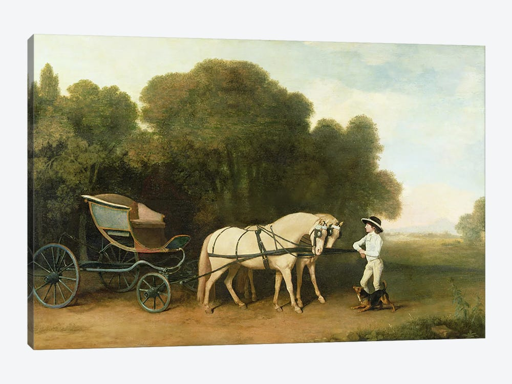 A Phaeton with a Pair of Cream Ponies in the Charge of a Stable-Lad, c.1780-5  1-piece Canvas Wall Art