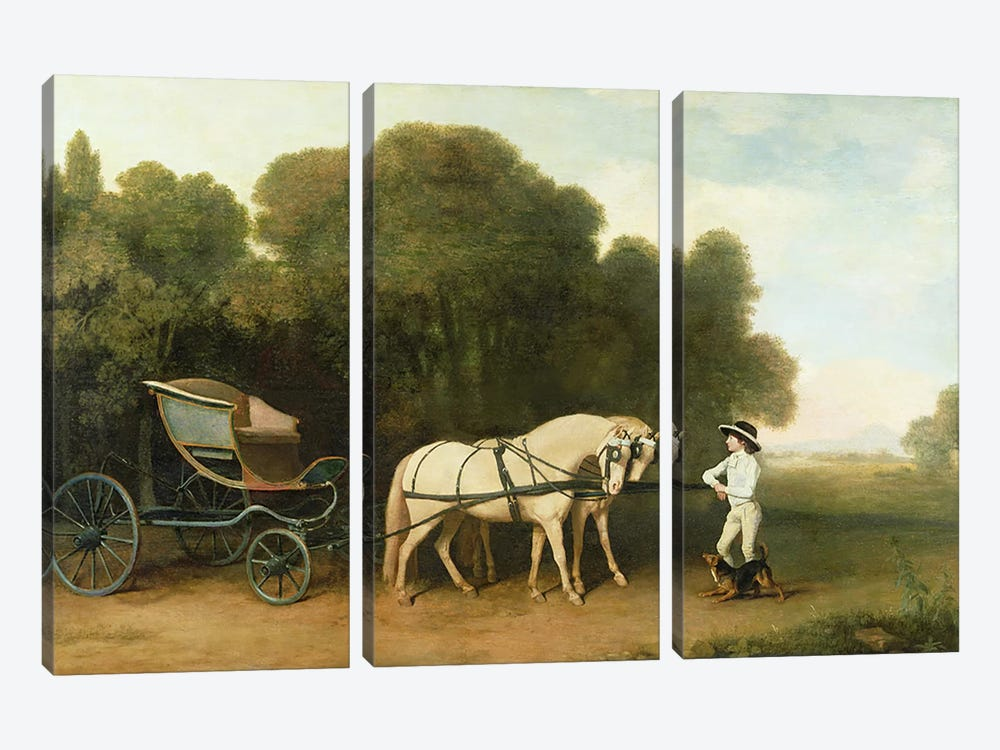 A Phaeton with a Pair of Cream Ponies in the Charge of a Stable-Lad, c.1780-5  by George Stubbs 3-piece Canvas Art