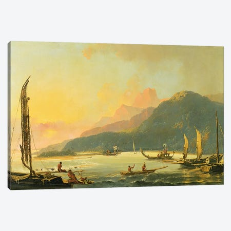 Tahitian War Galleys in Matavai Bay, Tahiti, 1766  Canvas Print #BMN1682} by William Hodges Canvas Wall Art