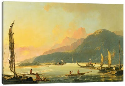 Tahitian War Galleys in Matavai Bay, Tahiti, 1766  Canvas Print #BMN1682