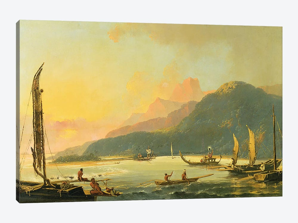 Tahitian War Galleys in Matavai Bay, Tahiti, 1766 by William Hodges 1-piece Canvas Art Print