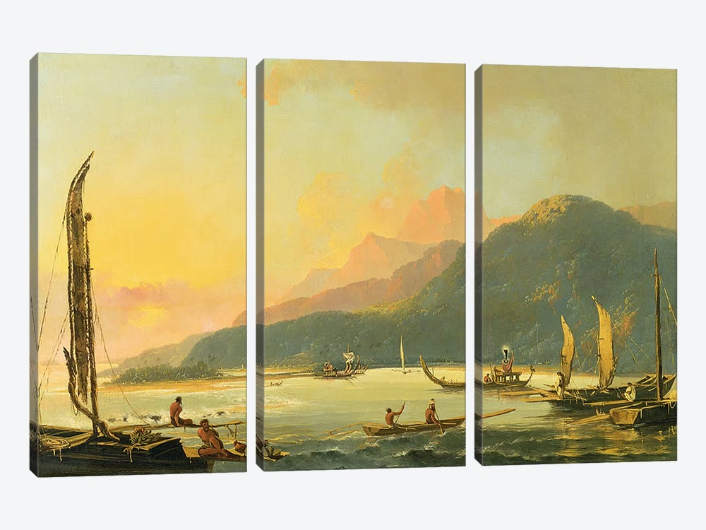 Tahitian War Galleys in Matavai Bay, Tahiti, 1766 by William Hodges 3-piece Art Print