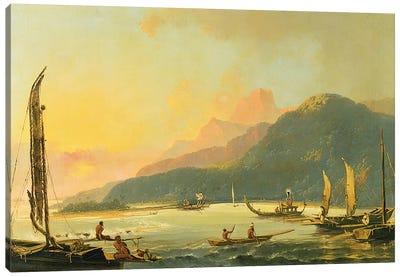 Tahitian War Galleys in Matavai Bay, Tahiti, 1766  Canvas Art Print