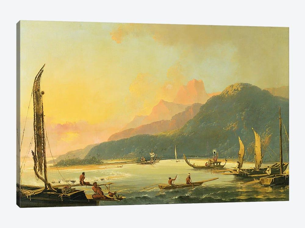 Tahitian War Galleys in Matavai Bay, Tahiti, 1766  by William Hodges 1-piece Canvas Art Print