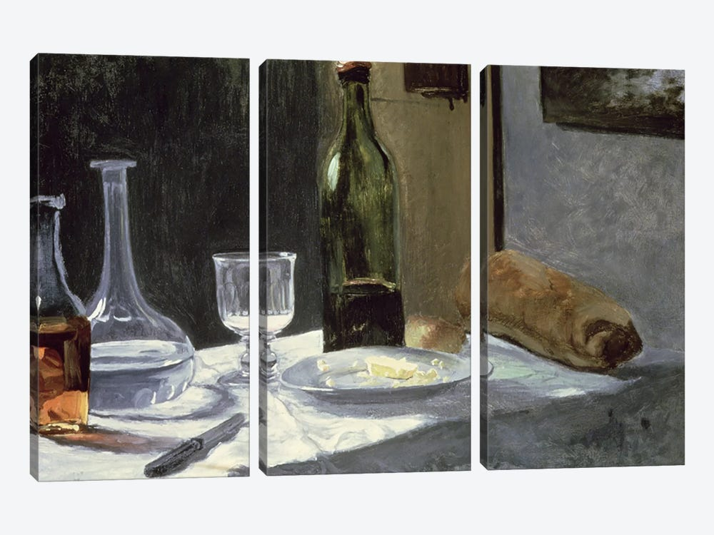 Still Life with Bottles, 1859  by Claude Monet 3-piece Canvas Print