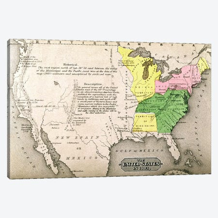 Map of the United States in 1803, from 'Our Whole Country: The Past and Present of the United States, Historical and Descriptive', by John Warner Barber and Henry Hare, 1861  Canvas Print #BMN1692} by American School Canvas Art Print