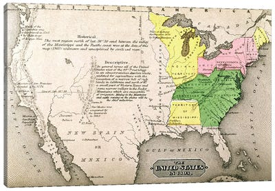 Map of the United States in 1803, from 'Our Whole Country: The Past and Present of the United States, Historical and Descriptive', by John Warner Barber and Henry Hare, 1861  Canvas Print #BMN1692