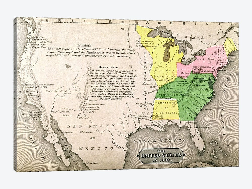 Map Of The United States In 1803, Our Whole Country: The Past And Present Of The United States, Historical And Descriptive by American School 1-piece Canvas Wall Art