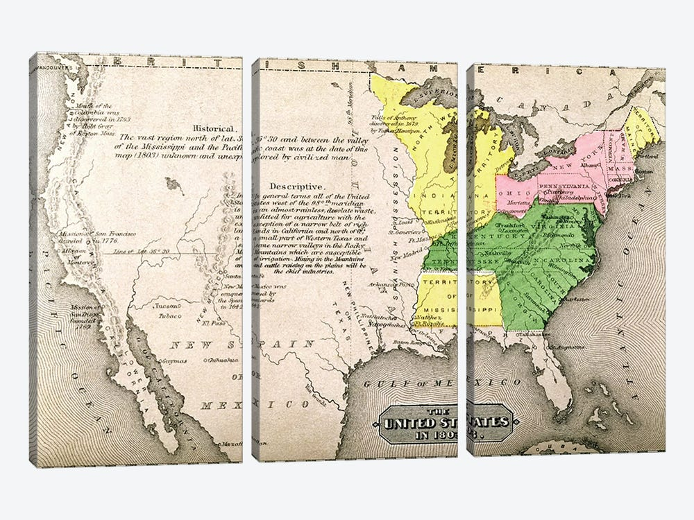 Map Of The United States In 1803, Our Whole Country: The Past And Present Of The United States, Historical And Descriptive by American School 3-piece Canvas Art