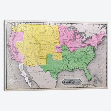 Map Of The United States In 1861, Our Whole Country: The Past And Present Of The United States, Historical And Descriptive Canvas Print #BMN1693} by American School Canvas Art Print