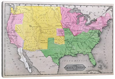 Map of the United States in 1861, from 'Our Whole Country: The Past and Present of the United States, Historical and Descriptive', by John Warner Barber and Henry Hare, 1861  Canvas Print #BMN1693