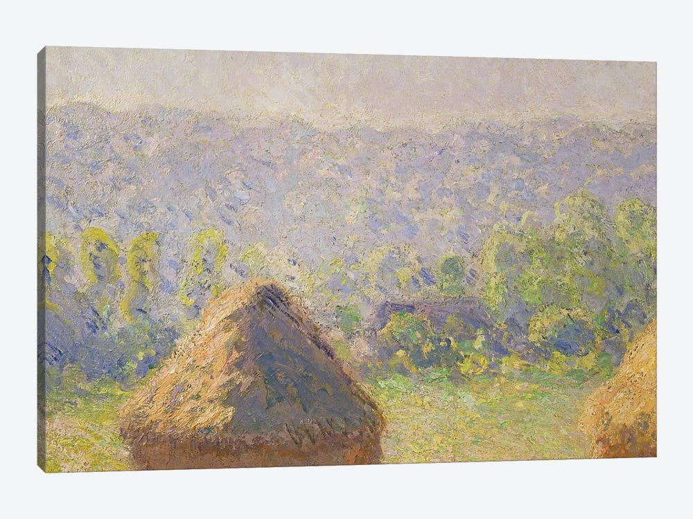 The Haystacks or, The End of the Summer, at Giverny, 1891   by Claude Monet 1-piece Canvas Wall Art