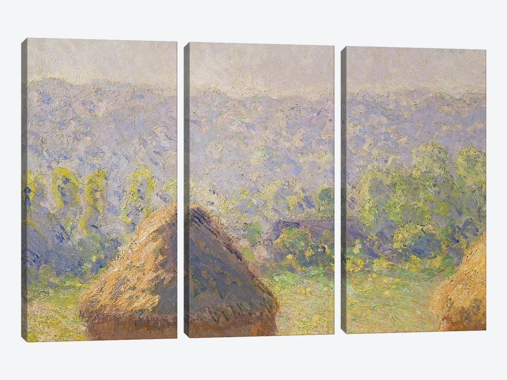 The Haystacks or, The End of the Summer, at Giverny, 1891   by Claude Monet 3-piece Canvas Artwork