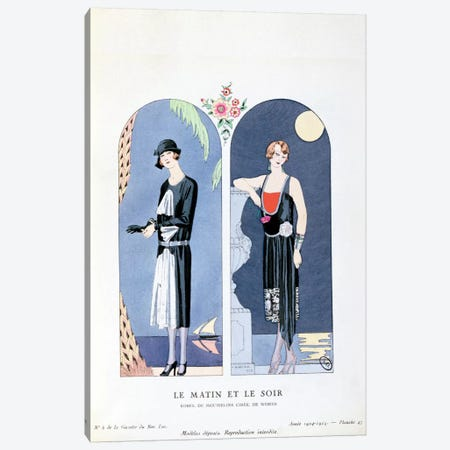 Day and Night, plate 47 from 'La Gazette du Bon Ton' depicting day and evening dresses, 1924-25 Canvas Print #BMN16} by Georges Barbier Canvas Wall Art