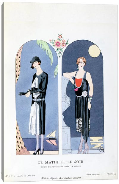 Day and Night, plate 47 from 'La Gazette du Bon Ton' depicting day and evening dresses, 1924-25 Canvas Art Print