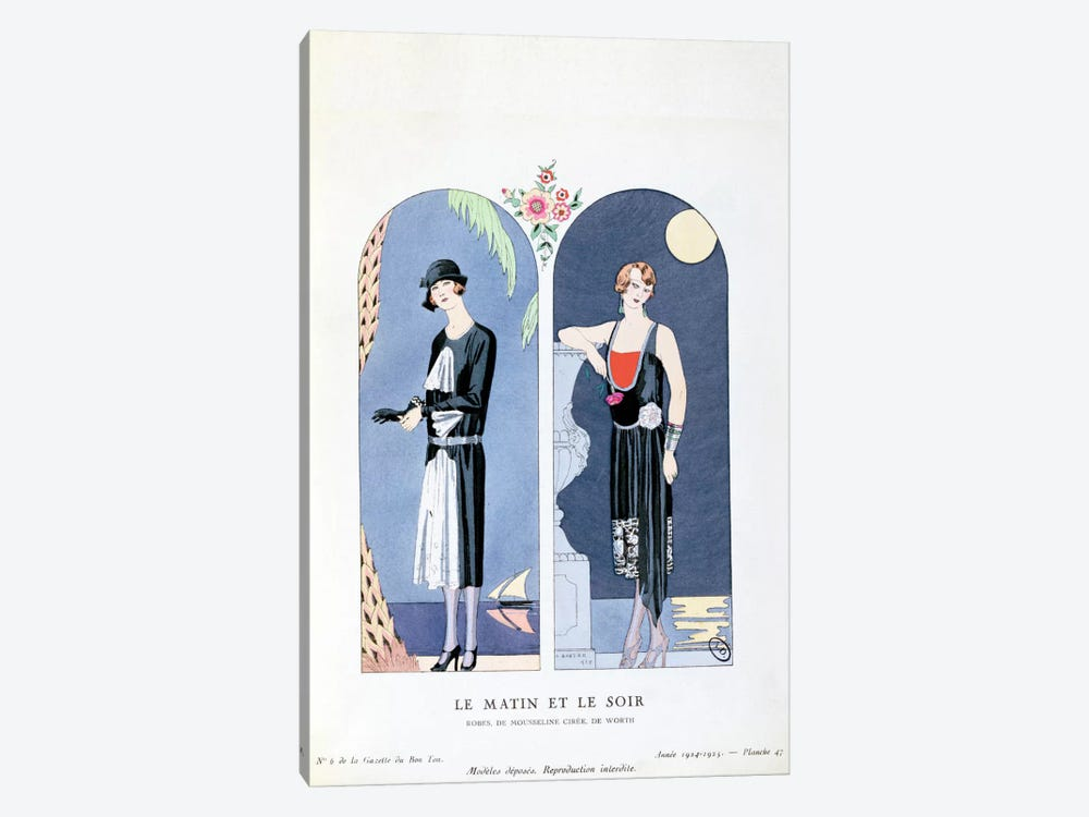 Day and Night, plate 47 from 'La Gazette du Bon Ton' depicting day and evening dresses, 1924-25 by Georges Barbier 1-piece Canvas Art Print