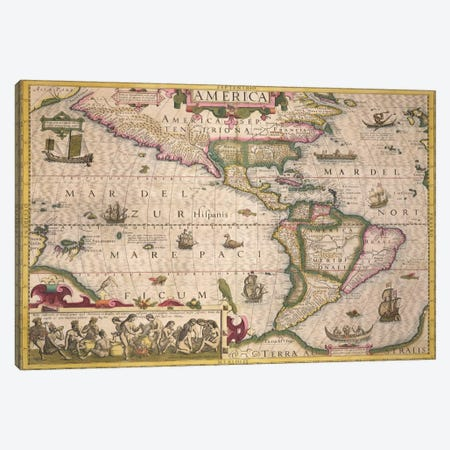 Map of America, from the Mercator 'Atlas', pub. by Jodocus Hondius  Canvas Print #BMN1703} by Dutch School Art Print
