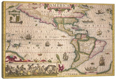 Map of America, from the Mercator 'Atlas', pub. by Jodocus Hondius  Canvas Print #BMN1703