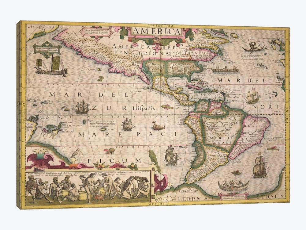 Map of America, from the Mercator 'Atlas', pub. by Jodocus Hondius  by Dutch School 1-piece Canvas Art Print