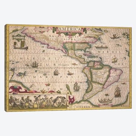 Map of America, from the Mercator 'Atlas', pub. by Jodocus Hondius  Canvas Print #BMN1703} by Dutch School Art Print