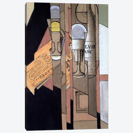 White Bordeaux, 1913  Canvas Print #BMN1707} by Juan Gris Canvas Artwork