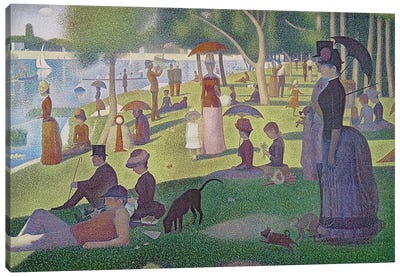 Sunday Afternoon on the Island of La Grande Jatte, 1884-86 by Georges Seurat Canvas Wall Art