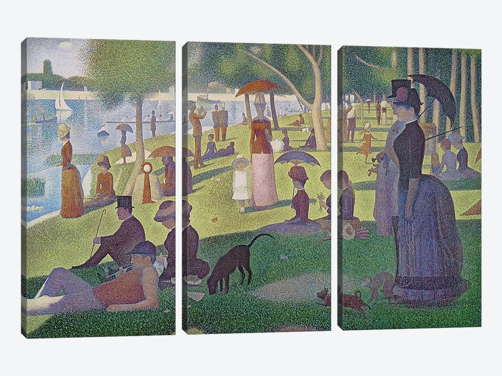 Sunday Afternoon on the Island of La Grande Jatte, 1884-86  by Georges Seurat 3-piece Art Print
