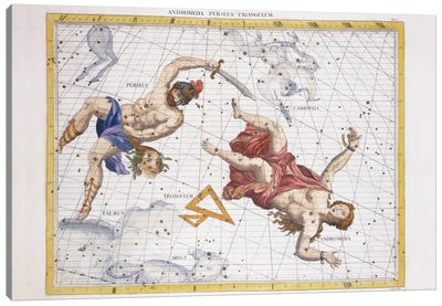 Constellation of Perseus and Andromeda, from 'Atlas Coelestis', by John Flamsteed  Canvas Art Print