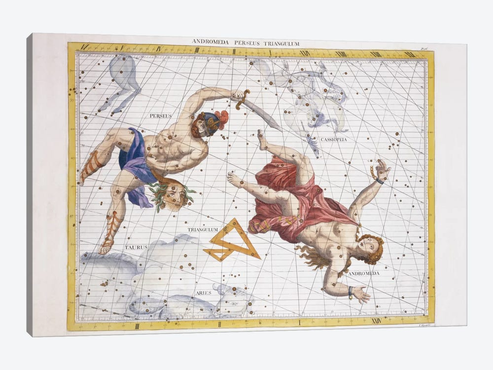 Constellation of Perseus and Andromeda, from 'Atlas Coelestis', by John Flamsteed  by Sir James Thornhill 1-piece Canvas Art Print