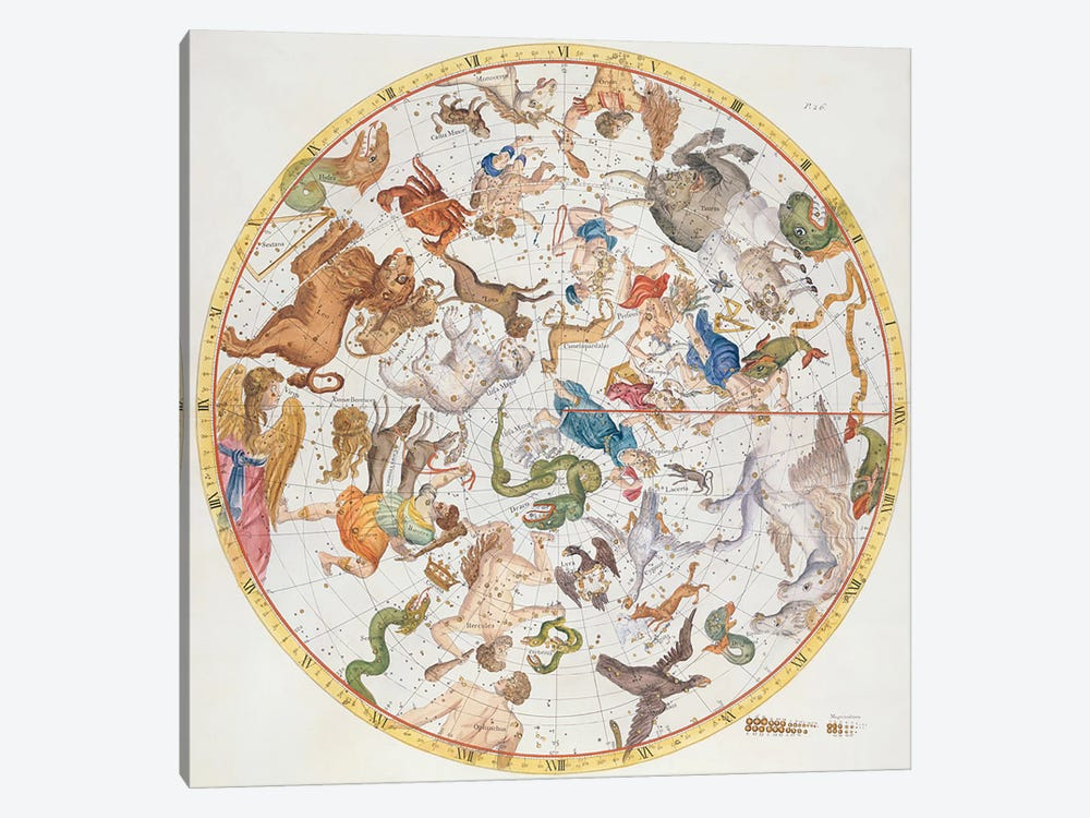 Plate 26 from 'Atlas Coelestis', by John Flamsteed  1-piece Canvas Artwork