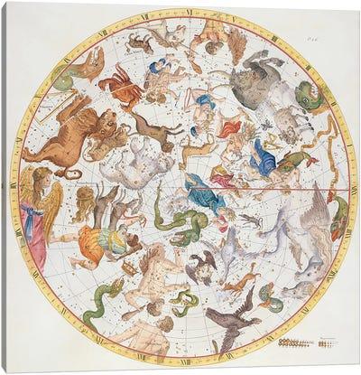 Plate 26 from 'Atlas Coelestis', by John Flamsteed  Canvas Art Print