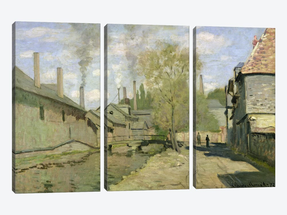 The Stream of Robec at Rouen, 1872  by Claude Monet 3-piece Canvas Art