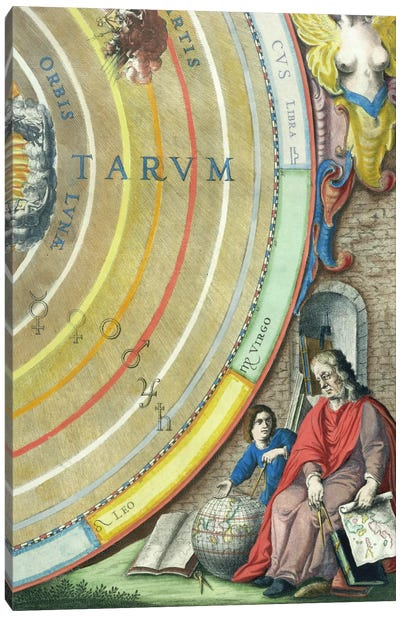 An Astronomer, detail from a map of the planets, from 'A Celestial Atlas, or The Harmony of the Universe'  Canvas Art Print
