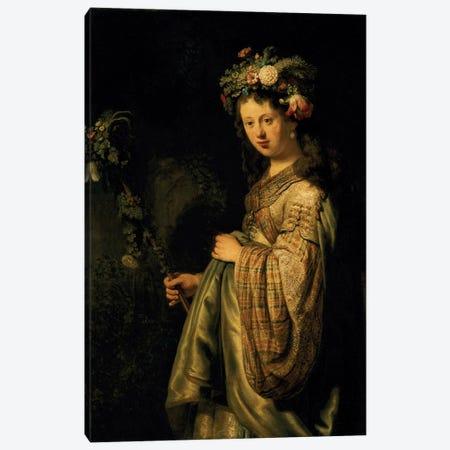 Saskia as Flora, 1634  Canvas Print #BMN172} by Rembrandt van Rijn Canvas Artwork