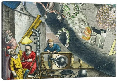 Detail Of Astronomers Looking Through A Telescope, The Celestial Atlas, 1660-61 Canvas Art Print