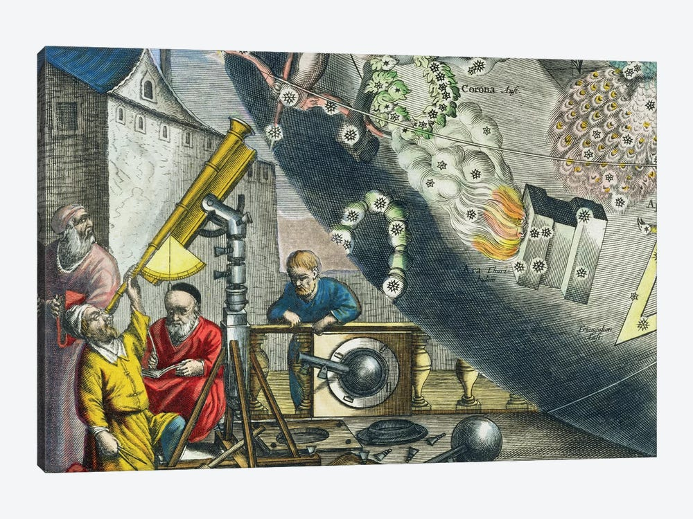 Detail Of Astronomers Looking Through A Telescope, The Celestial Atlas, 1660-61 by Andreas Cellarius 1-piece Canvas Art