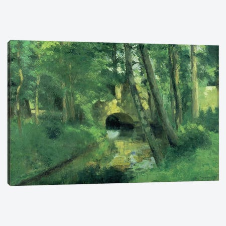 The Little Bridge, Pontoise, 1875 Canvas Print #BMN173} by Camille Pissarro Canvas Art