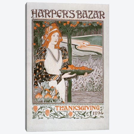 Advertisement for the Thanksgiving edition of 'Harper's Bazar', 1894  Canvas Print #BMN1741} by American School Canvas Print